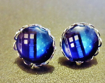 Police Box Inspired Silver Plated Earrings