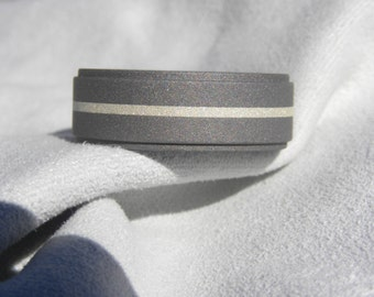 Titanium Ring with Silver Inlay Stripe, Wedding Band, Mens Ring, Sandblasted