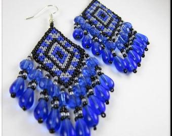 Native American Style Beadwork Fringe Seed Bead Earrings Diamond Shaped Earrings in Blue, Black and Gray