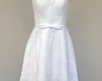 BRIGITTA-NEW Custom made Tea Length Lace Wedding dress-CRBoggs Original Design-Custom made to your size-