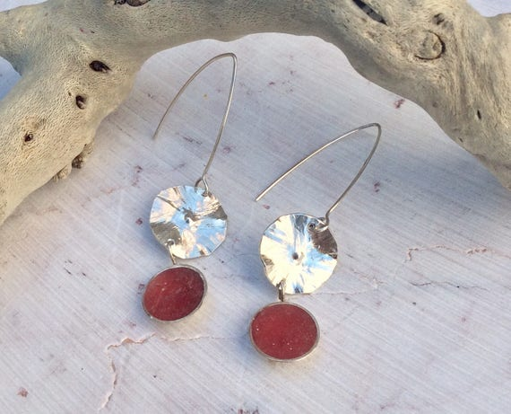 Sterling Silver and Red Lily Pad Earrings