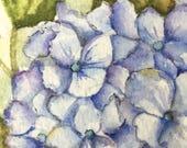 Original Watercolor of Hydrangea Art Card Original Original Painting of Flowers Floral Art Desk Art Artist Trading Cards