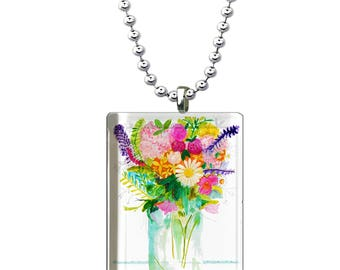 Watercolor Floral Glass Pendant, Shabby Chic Necklace, Hand Made Glass Jewelry