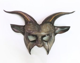 Dapple Grey Leather Goat Mask in grey black brown very lightweight and easy to wear