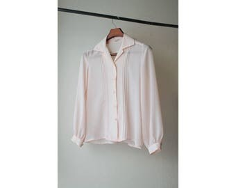 1970s Sheer Pink Pleated Button Down Blouse