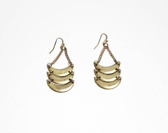Vintage Gold Tone Tribal Dangling Earrings