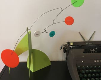 """THE MODERNE Midcentury Modern Art Stabile Tabletop Sculpture 14""""h x 18""""w Modern Colors Palm Springs Lime Aqua Turquoise Orange White"""
