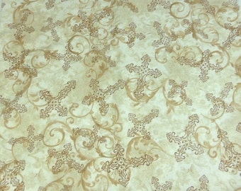 Wing and a Prayer Designs Timeless Treasures Fabrics Religious Christian Taupe Crosses Flourishes Taupe Tan Brown 1/2  yard x 44 inches