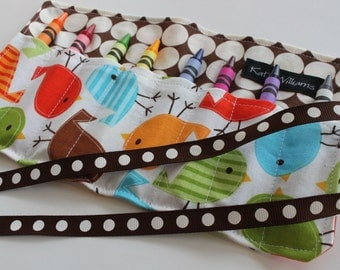 Bird Crayon Roll Organizer-Easter Basket Gift Item-8 Crayola Crayons Included-Kid Travel Art Accessory-Kid Travel Organization