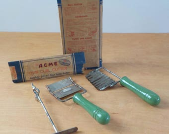 1930's Acme Garnishing Set • Vintage Kitchen Tools • Green Handled Kitchen Utensils
