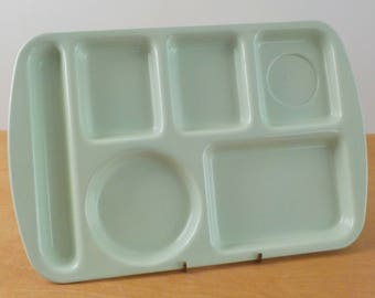 Vintage Prolon Lunch Tray • Melamine Cafeteria Tray • Mid Century Melmac Mint Green Tray