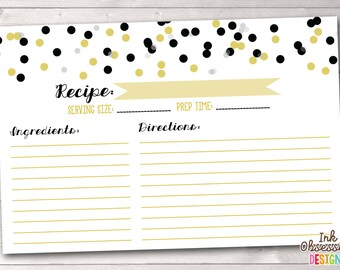 Instant Download Recipe Cards Black & Gold Polka Dot Confetti Printable PDF