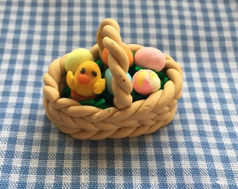 Miniature Easter Basket With Baby Chick