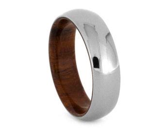 Ironwood Wedding Band With Titanium Overlay, Simple Wood Ring