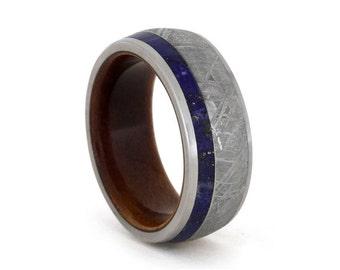 Mens Meteorite Wedding Band Lapis Lazuli Ring With Titanium Edges Customizable Wood