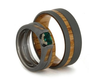 Emerald Engagement Ring With Matching Oak Wood Wedding Band, Women's Wedding Ring Set With Men's Titanium Wedding Band
