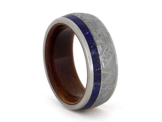 items similar to s meteorite wedding band lapis