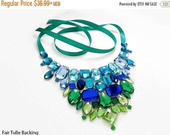 ON SALE Blue and Green Rhinestone Bib Necklace, Blue and Green Statement Necklace, Mermaid Bib Necklace, Green and Blue Jeweled Statement Ne