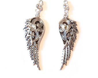 Pair of Decorative Wing Charms with Great Texture Rhinestone Top Antique Silver-tone