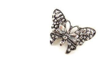 Small Double Link Butterfly Charm Pendant Antique Silver-tone