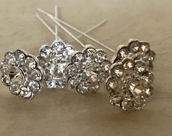 Rhinestone Diamond Like Stone Flower Floral Bouquet Accent Stick Pin