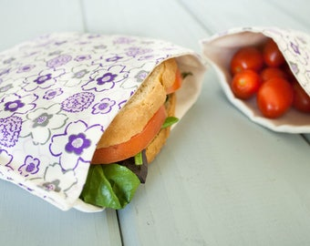 PLASTIC-FREE Girls Sandwich and Snack Bag Set of 2 - Eco Friendly, Organic Cotton - Purple Flowers