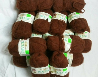 Vintage Lion Brand Molaine 3-ply Mohair look yarn 17 skeins Imported from Italy Woodbrown 100% virgin acrylic