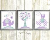 Aqua lavender purple, Nursery Wall Decor, baby nursery art, tree owl elephant bird girls room kids wall art Set of 3 Prints - Tree Of Love