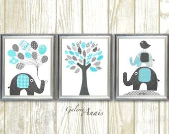 Elephant Nursery art Boy Nursery Decor  Blue gray nursery wall art Kids Wall Art Nursery Art Baby Tree Nursery  Set of three prints
