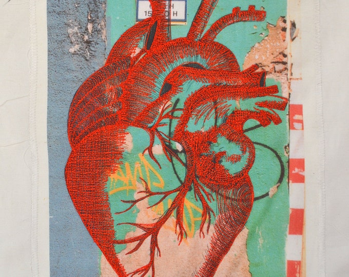 Unique Beautifully EMBROIDERED HEART. Original Work of ART From Barcelona on a Photographic Print onto Fabric