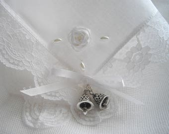 Irish Wedding Bells Traditional Keepsake Handkerchief Gift Boxed Shower Gift White Cotton Lace Pearls Embroidery Handmade in USA
