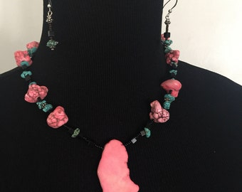 Natural Stone Necklace and Earring Set