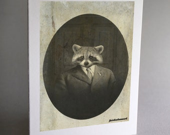 Raccoon, Raccoon Card, Note Cards, Woodland Note Card, Funny Card, Animal, Notecard, Thank You Card, Note Card, Notecards, Greeting Card