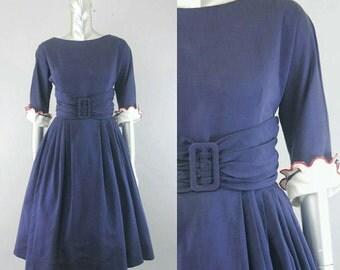 vintage 1950s navy silk dress | 50s silk dress | vintage 50s dress