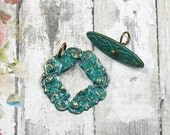 CLEARANCE Water Lily Wreath Toggle Clasp Set Brass with Hand Applied Green Patina {1 set} M29