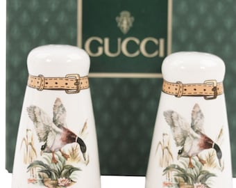 Authentic GUCCI VINTAGE White Porcelain SALT and pepper shakers set flying duck