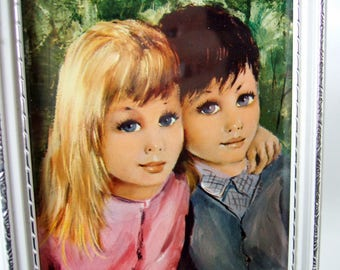 Kitsch Children Framed Print - Small 1970s Vintage Picture of Cute Boy and Girl in Frame