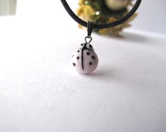 Tiny Pink Ladybug Glass Pendant