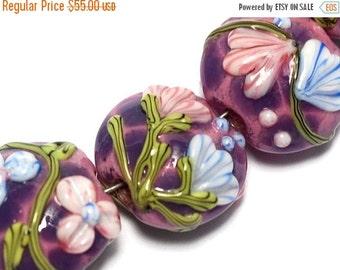 ON SALE 40% OFF Seven Violet Garden Lentil Beads - Lampwork Glass Bead Set 10603002