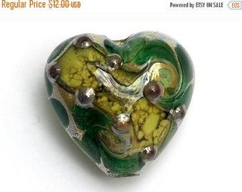 ON SALE 40% OFF 11816305 - Dark Green w/Silver Foil Heart Focal Bead - Handmade Lampwork Bead