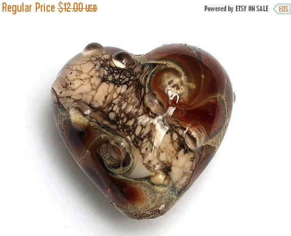 ON SALE 40% OFF Transparent Red w/Silver Foil Heart Focal Bead - Handmade Glass Lampwork Bead 11815105