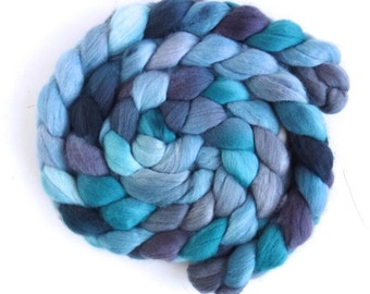 Organic Polwarth Roving - Handpainted Spinning or Felting Fiber, Cool Allure