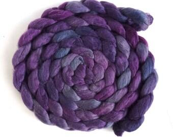 Merino/ Silk Roving (Top) - Handpainted Spinning or Felting Fiber, Aubergine and Grey