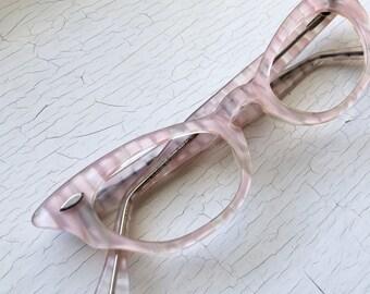 Petite Adult Fit 50's NOS Made in USA Stripe Pink Clear Ice Cat Eye Eyewear Eyeglass Frames Pale Pastel Eyeglasses Small