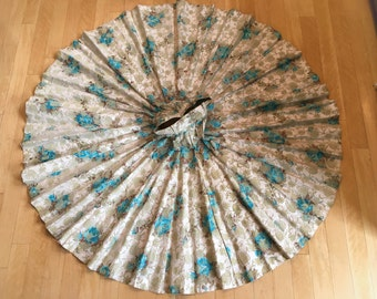 "26"" Waist Flocked Cotton Chintz Full Circle Skirt Aqua Roses Off White 203"" Sweep Gorgeous 1940's Vintage"