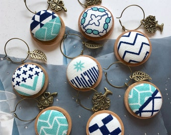 Handmade Scandinavian Aqua Blue White Aztec Nature Motif Fabric Button Party House Warming Wedding Gift Wooden Wine Charms