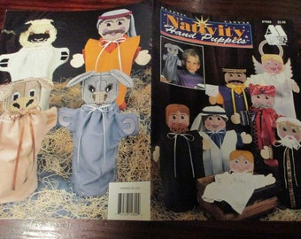 Christmas Plastic Canvas Patterns Nativity Hand Puppets Annie's Attic 87N80 Toy Puppet Plastic Canvas Pattern Leaflet