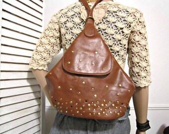 Vegan Backpack, Tan Brown Bag, Nine West backpack, Vegan Non-Leather Bag, Roomy sturdy bag