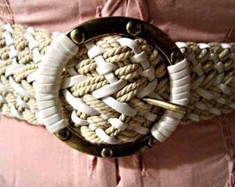 Braided Woven Belt Casual Belt Cream and White Belt with Metal Buckle.