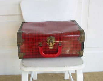 Vintage Red Plaid Suitcase, Red Train Case, Small Red Suitcase, Metal Suitcase, Vintage Christmas Decor, Tartan Suitcase, Vintage Red Case